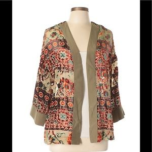 Willow & Clay Tan Orange Green Kimono Coachella L